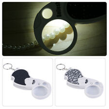 Mini Keychain 8x37 20x12mm Eye Jewelry Loupe Double Lens LED Magnifier ~DK