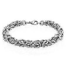 Bling Jewelry Stainless Steel Twisted Rope Byzantine Chain Bracelet