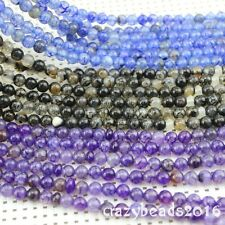 "6mm Dragon Veins Agate Round Loose Gemstone Beads Strand 24"" Pandent Necklace"