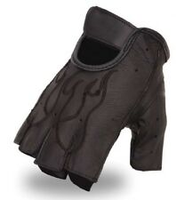 First Manufacturing Mens Fingerless Leather Gloves, Embroidered Flame FI166GEL
