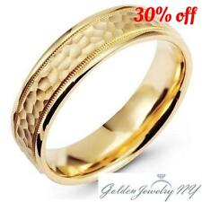 Mens Womens Solid 14K Yellow Gold Hammered Milgrain Comfort Fit Wedding Band 6MM