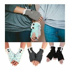 Women Winter Fashion Half Finger Knit Lace Gloves Hand Warmer Mittens Fingerless