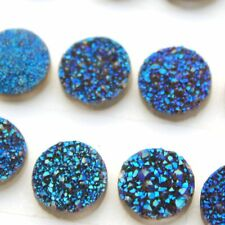 Natural Blue Color Coating Druzy Round Calibrated Size 6mm- 20mm Loose Gemstone