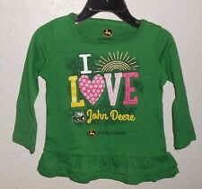 JOHN DEERE BABY / TODDLER  I LOVE JOHN DEERE TRACTOR  RUFFLE HEM LONG SLEEVE TOP