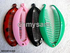 "NEW PLASTIC DARK  MULTI COLOR PLASTIC BANANA HAIR CLIP/COMB/ MIX  5 1/2 ""LONG"