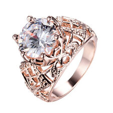 Size 5-9 White Sapphire 11*11mm 10Kt Rose Gold Filled Wedding Party Ring