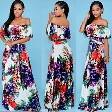 Women Sexy Floral Off ONE Shoulder Ruffled Summer Maxi Beach Party Long Dress