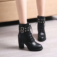 Winter Punk Ladies Platform Thick Heels Rivet Buckle Strappy Lace Up Ankle Boots