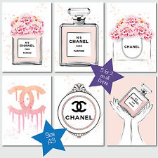 CHANEL NO 5 PERFUME & PEONIES FASHION COLLECTION A3 SKETCH & WATERCOLOUR PRINTS