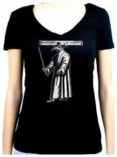 Black Death Plague Doctor Womens V-Neck Shirt Top Bird Mask Occult Angel of Goth