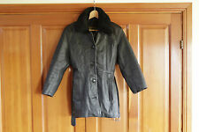 Wested Leather Co faux fur detachable collar coat/jacket black size small