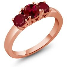 1.20 Ct Round Red Created Ruby Red Ruby 14K Rose Gold Ring