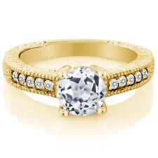 1.55 Ct Round White Topaz Created Sapphire 18K Yellow Gold Plated Silver Ring