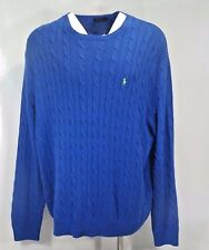Polo Ralph Lauren Mens Big & Tall Cable Knit Sweater Royal Blue 3XLT 4XB NWT
