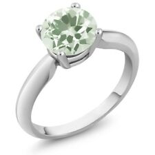 1.10 Ct Round Green Amethyst 925 Sterling Silver Ring
