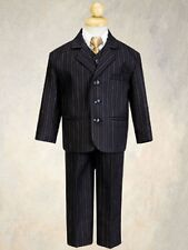 Lito Infant & Toddler Boys Suit Black & Gold Pinstripe 5pc Easter Wedding Formal