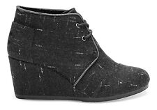 TOMS WOMENS DESERT WEDGE BLACK DOTTED WOOL NEW LACE-UP SHOES SIZE 6-9