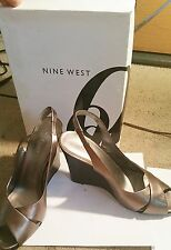 NEW Nine West Color Pewtier Leather Wedge Platform Sandals Women's classic shoes