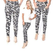 WOMENS LADIES STRETCH ZIP & RIBBED PANEL DETAIL CAMOUFLAGE PRINT SKINNY JEANS