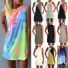 New Sexy Womens Summer Sleeveless Party Evening Cocktail Casual Shift Mini Dress