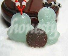 1Pcs Natural Hand-carved  Buddha / Mercy jade pendant  Lucky Amulet Necklace