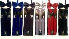 "Big Boy's Polyester Bow Tie w/Matching 36"" Suspenders - Choose From 4 Colors"