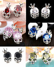 SKULL EARRINGS Stud Cubic Zirconia Crystal CZ Silver White Gold Cute Goth Gift