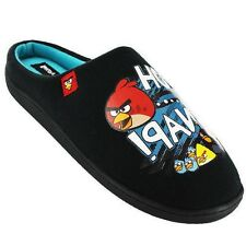 ANGRY BIRDS OH SNAP MENS BLACK TEXTILE NOVELTY MULE SLIPPERS