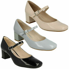 CHINABERRY POP - LADIES CLARKS MARY JANE STYLE BLOCK HEEL LEATHER PATENT SHOES
