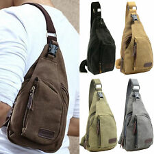 Men's Small Canvas Military Messenger Shoulder Travel Hiking Chest Bag Backpack