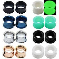 2PAIR-Silicone Ear Tunnels Plugs+Stainless Steel Screws Ear Stretching-Ear Gauge