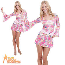 Adult 60s Chick Costume Hippy Fancy Dress 70s Womens Hippie Outfit New 8-16