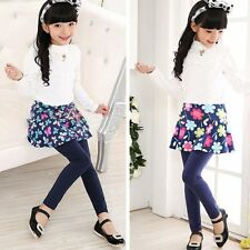 3-11Y Kids Girl's Spring Autumn Tutu Floral Flower Skirt Culottes Leggings Pants