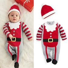 Kids Children Baby Happy Christmas Clothes Cute Casual Jumpsuit Hat 2-pcs sets