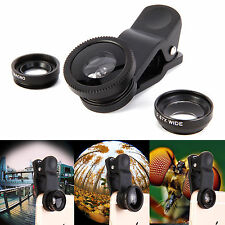 3 in 1 Fish Eye Wide Angle Macro Camera Clip-on Lens for iPhone 6 Plus 5S Mobile