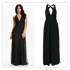 Sexy Deep V-neck Summer Maxi Long Dress Robe Backless Black Formal Evening Party