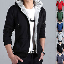 New Warm Winter Fleece Lined Jacket Men's Pure Color Zipper Placket Hoodies Coat