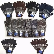 6~12 MAN WOMAN MAGIC STRIPES  DARK COLOR WARM WINTER KNITTED GLOVES  LOT Size XL