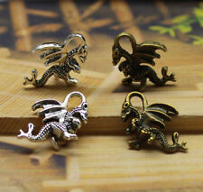 Free shipping 10/100pcs Retro style alloy lovely 3D wing dragon Charm pendant