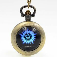 Movie Supernatural Tattoo Quartz Pocket Watch Necklace Chain Analog Pendant Men
