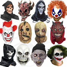Latex Halloween Costume Grim Reaper Clown Zombies Werewolf Skull Zipper Masks