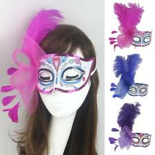 Hot Masquerade Feather Eye Mask Mardi Gras Halloween Womens Fancy Dress