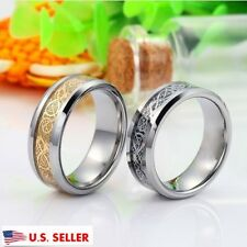 Men Gold Silver Dragon Stainless Steel Wedding Couple Rings Band Ring Size 8-12