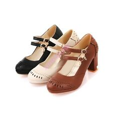 AutumnLady Womens Platform Double Buckle Strap Thick Heel Mary Jane Pump Shoes