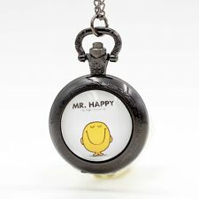 Mr. Happy Mr. Men and Little Miss Quartz Pocket Watch Analog Pendant Necklace