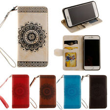 Mandala Pattern Flip Strap Leather Card Holder Wallet Stand Case Cover For Phone