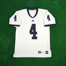 Michigan Wolverines #4 ADIDAS Authentic On-field Football White Jersey Men's