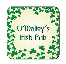 DRINK COASTERS Irish CLOVER Sunburst Set of 4 ADD TEXT FREE glossy wood bar pub