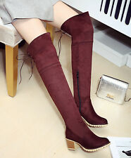 Women Lace Up High Chunky Heel Over The Knee HIgh Boots Faux Suede Shoes US Size