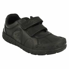 BRONTOSTEP BOYS CLARKS BLACK LEATHER RIPTAPE TRAINERS SCHOOL FORMAL SHOES SIZE
